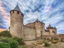 Carcassonne, izolujący średniowieczny miasto, Francja Fotografia Royalty Free