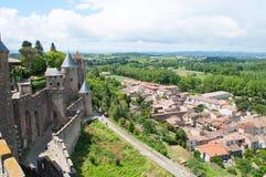 Carcassonne kasztel i miasteczko Obrazy Royalty Free
