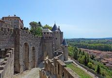 Carcassonne kasztel w Francja Obrazy Royalty Free
