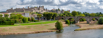 Carcassonne la cite medievale and pont vieux panoramic view Stock Photos