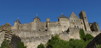Carcassonne, Languedoc , France. Remparts of the preserved medieval fortified city, La Cité de Carcassonne was founded in the Gallo-Roman period. On UNESCO's Royalty Free Stock Images