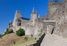 Carcassonne medeltida stad Frankrike Arkivbilder