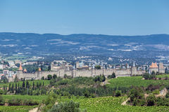 Carcassonne medeltida stad Frankrike Arkivfoton