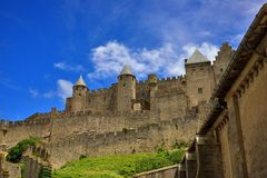 Carcassonne medieval citadel. Cite de Carcassonne, a medieval fortified city in southern France (Aude department) seen from outside Royalty Free Stock Photos