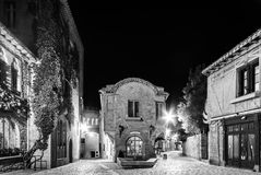 Carcassonne medieval city street night view in black and white Stock Image