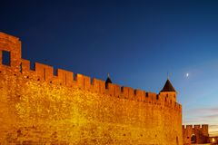 Carcassonne Medieval Fortress Highlighted Night View With Moon I Stock Images