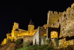 Carcassonne Medieval Fortress Night View, Old Walls And Towers H Royalty Free Stock Photos