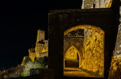 Carcassonne medieval fortress night view, old walls and towers h Stock Photo