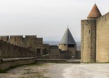 Carcassonne miasto, Aude, Francja, 24th Luty 2018 fortecy Średniowieczne ściany Obrazy Stock