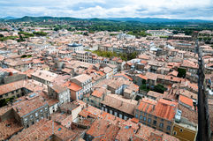 Carcassonne new and old city wide panoramic view Stock Photo