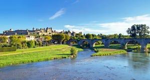 Carcassonne old cite landscape stock images