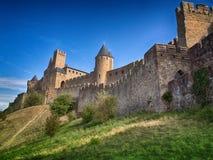 Carcassonne, ommuurde middeleeuwse stad, Frankrijk Stock Fotografie