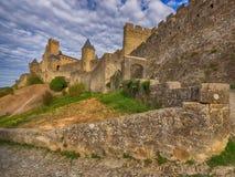 Carcassonne, ommuurde middeleeuwse stad, Frankrijk Stock Foto's