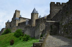 Carcassonne. The rear entry of Carcassonne medieval city stock image