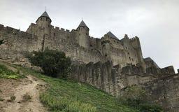 Carcassonne średniowieczny kasztel, Francja fotografia royalty free