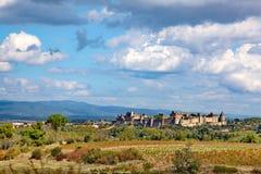 Carcassonne Roszuje, forteca wśród gór, lato Obraz Royalty Free
