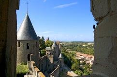 carcassonne s väggar Arkivfoto
