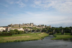 Carcassonne scenic France. Scenic view of town of Carcassonne with Aude river in foreground, Languedoc, France Royalty Free Stock Image