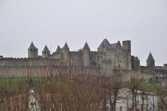 Carcassonne-Schlossanblick lizenzfreie stockfotografie