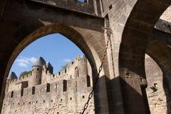 Carcassonne slott arkivfoto
