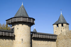Carcassonne slotttorn Arkivfoto