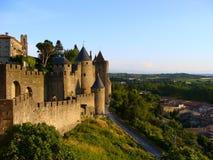 carcassonne solnedgång Royaltyfria Bilder
