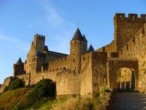 Carcassonne am Sonnenuntergang Stockbilder