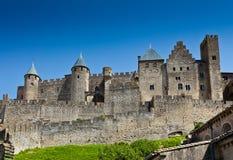 Carcassonne - störst fästning i Europa, Frankrike Royaltyfri Foto