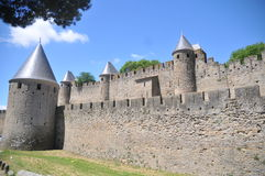 Carcassonne Town Wall. This is part of the middle castle wall of the medieval town of Carcaassonne in southern France Royalty Free Stock Image
