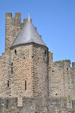 Carcassonne Town Wall. This shows a tower in the town wall of Carcassonne in southern France Royalty Free Stock Photography