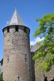 Carcassonne Town Wall With Tower. This shows the outside town wall of the historical castle of Carcassonne in southern France Stock Photo