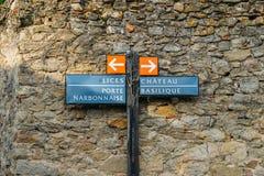 Carcassonne, una città della sommità in Francia del sud, è un sito del patrimonio mondiale dell'Unesco famoso per la sua cittadel immagini stock