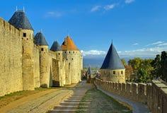 Carcassonne vieille citent des murs Images stock