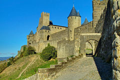 Carcassonne vieille citent les murs occidentaux Photo stock