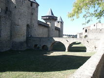 Carcassonne Wall. Wall built on the 13th century to defend the city Royalty Free Stock Photos