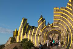 Carcassonne west entrance with tourists. stock image