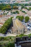 Carcassonne widzieć od defensywnych ścian kasztel w zimie, dachy Zdjęcie Royalty Free