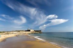 Carcavelos Beach and Saint Julian Fortress Royalty Free Stock Photography