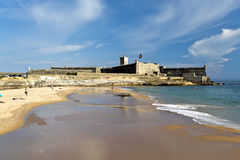 Carcavelos Beach and Saint Julian Fortress Royalty Free Stock Images