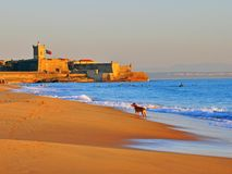 Carcavelos, Portugal. Carcavelos beach in central Portugal royalty free stock photo