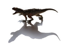 Carcharodontosaurus toy with shadow Royalty Free Stock Photos