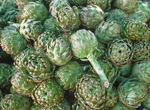 Carciofo fresco al mercato del villaggio Grande frutta del carciofo Fotografie Stock Libere da Diritti