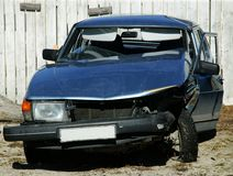 Carcrash.JH. Crashed car in a junk yard.JH stock photo