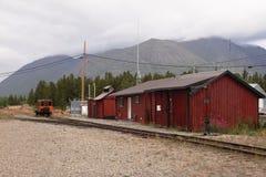 Carcross stångstation - Yukon - Kanada Arkivbilder