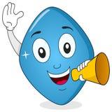 Carácter azul de Viagra de la píldora con el megáfono Imagen de archivo libre de regalías