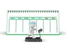carácter 3D con la rueda de ardilla y el calendario Fotos de archivo