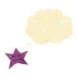 carácter de la estrella de la historieta con la burbuja del pensamiento Imagenes de archivo