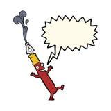 carácter de la pluma de la historieta con la burbuja del discurso Imagen de archivo libre de regalías