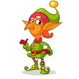 Carácter del duende de la Navidad en sombrero verde Ejemplo de la tarjeta de felicitación de la Navidad con el duende lindo Imagen de archivo