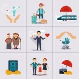 Carácter del seguro y plantilla de los iconos Vector Imagenes de archivo
